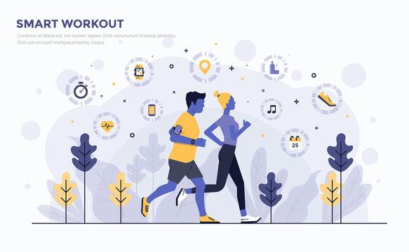 Flat Modern Concept Illustration - Smart Workout