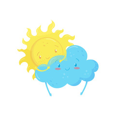Smiling yellow sun behind adorable blue cloud. Funny weather characters. Cartoon flat vector element for mobile game, children book, sticker or print
