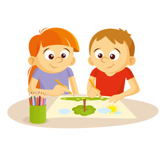 Boy and girl draw picture Vector illustration