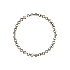 Chain frame. Circle. Isolated on white background. Vector illustration.