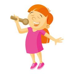 Little singer girl vector illustration