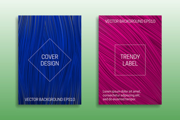 Cover templates of saturated color. Trendy blue and pink brochures backgrounds.