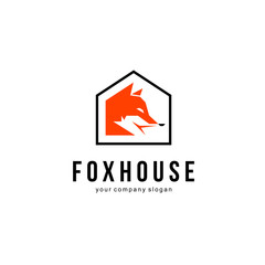 Fox in the house vector logo design template