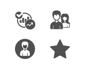 Set of Teamwork, Person and Statistics icons. Star sign. Man with woman, Edit profile, Report charts. Best rank.  Quality design elements. Classic style. Vector