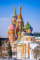 Varvara Church, St. Basil's Cathedral, Spasskaya Tower in the wi