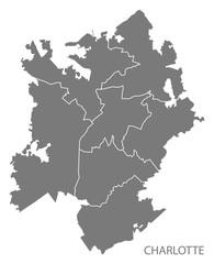 Charlotte North Carolina city map with boroughs grey illustration silhouette shape