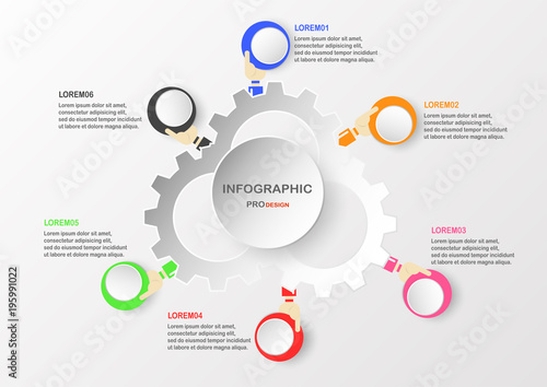 Abstract infographic elements with hand holding colorful