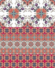 Ethnic endless ornamental pattern with tulip flowers and bright border. Print for fabric. Vector design.