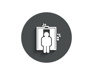 Lift simple icon. Elevator sign. Transportation between floors symbol. Circle flat button with shadow. Vector