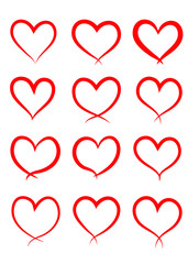 Set of hand drawn hearts. Design elements, symbol of love. Isolated on white background.