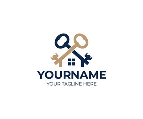 Keys and house logo template. Real estate and sale property vector design. Mortgage business illustration