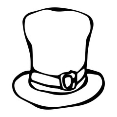 Green Leprechaun Hat. Saint Patricks Day Ireland Vector Illustration Hand Drawn. Savoyar Style Doodle.