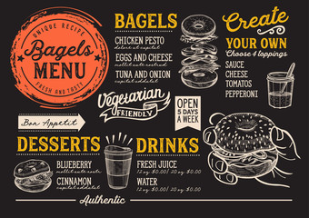 Bagels restaurant menu. Vector sandwich food flyer for bar and cafe. Design template with vintage hand-drawn illustrations.
