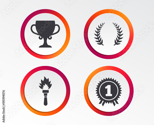First Place Award Cup Icons. Laurel Wreath Sign. Torch Fire Flame Symbol.  Prize  First Place Award Template