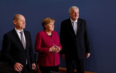 CDU, CSU and SPD news conference before signing a coalition deal in Berlin