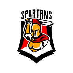 Emblem, logo, badge, Spartan with a sword. Ancient Greek warrior, gold armor, hoplite, Corinthian helmet, soldier, shield. Vector illustration
