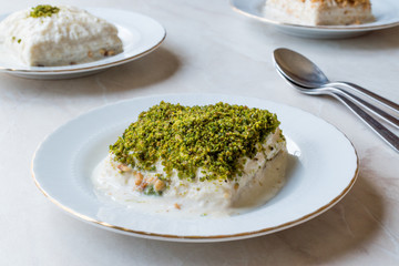 Turkish Milk Dessert Sutlava made with Gullac and Dairy Baklava Dough