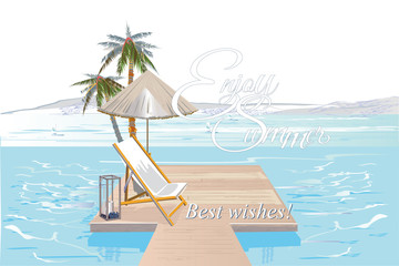 Summer background with tropical palms and flowers. Vector illustration design.
