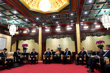 South Korean National Security Director, Chung Eui-yong and Chinese Foreign Minister, Wang Yi attend their meeting at Diaoyutai State Guesthouse in Beijing