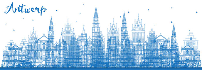 Outline Antwerp Belgium City Skyline with Blue Buildings.