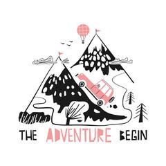 Adventure slogan and mountain doodle vector. Car conquering the mountains. Balloon over the mountains.