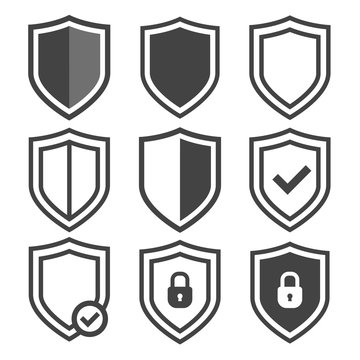 Vector shield icon set. Security vector icons. Protection logos. Shield vector icon collection. Сryptocurrency protection sign. Reliability crypto wallet. Crypto currency security web buttons.