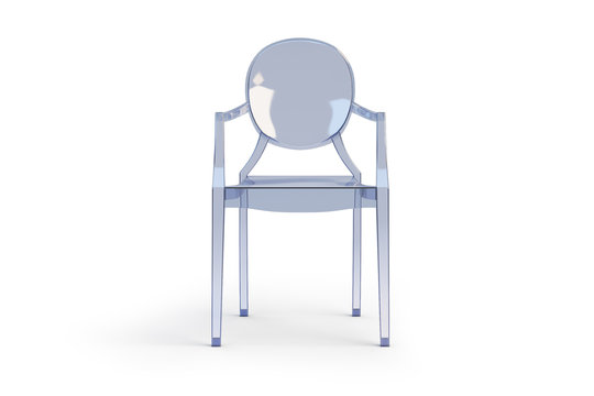 Plastic transparent armchair. 3d render