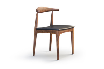 Wooden chair with leather seat. 3d render