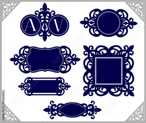 851c45443f4c Set of design element. Vintage emblem. Decorative frame template. Wedding  monogram laser cut