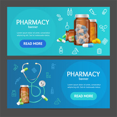 Pharmacy Banner Horizontal Set. Vector