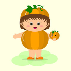 A cute kid in pumpkin suit is holding a vegetable in his hands.