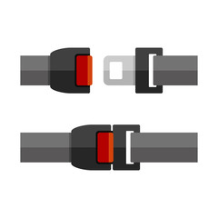 Open and Close Seatbelt Set. Flat Style Vector