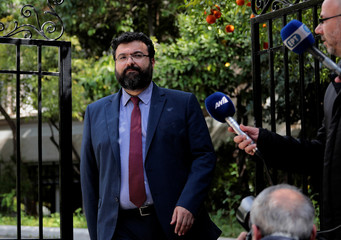 Deputy Culture and Sports Minister Vassiliadis makes statements, following a meeting with Greek Prime Minister Alexis Tsipras outside Maximos Mansion in Athens