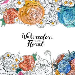 Watercolor Floral Background. Hand painted border of flowers. Good for invitations and greeting cards. Frame of roses isolated on white and brush lettering. Spring blossom.