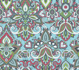 Printed kitchen splashbacks Moroccan Tiles Vector seamless pattern with henna mehndi floral elements.