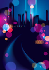 Night city life with street lamps and bokeh blurred lights. Effect vector beautiful background. Blur colorful dark background with cityscape, buildings silhouettes skyline.