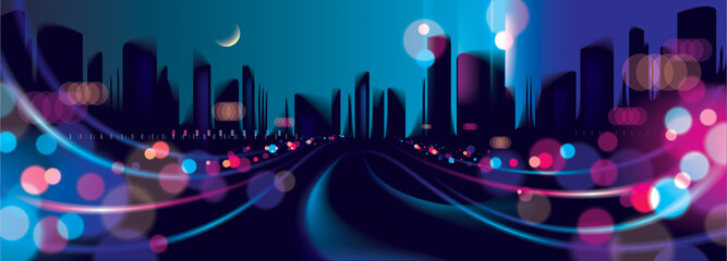 Wide panorama abstract urban night light bokeh , defocused background. Effect vector beautiful background. Blur colorful dark background with cityscape, buildings silhouettes skyline.