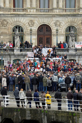 Pensioners demonstrate in favour of higher state pensions in front of the town hall in Bilbao