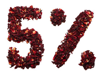 5 percent of hibiscus tea on a white background isolated.