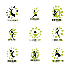 Set of vector illustrations of excited abstract man with arms reaching up. Healthy lifestyle metaphor.