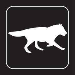 white wolf running silhouette on black background