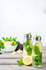 Fresh cool lemon cucumber mint infused water detox drink