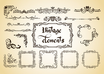 Kit of Vintage Elements for Invitations, Banners, Posters, Placards, Badges or Logotypes.