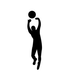 black volleyball silhouette images on white background