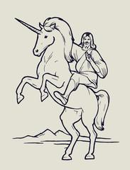 jesus riding unicorn - christian god and a magic creature