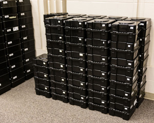 stack of shako storage boxes ready for assignment