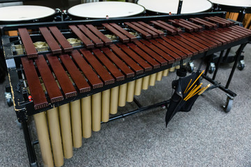 vibraphone queued up with the other percussion instruments