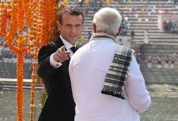 French President Emmanuel Macron and Indian Prime Minister Narendra Modi are seen on-board of a boat in Varanasi