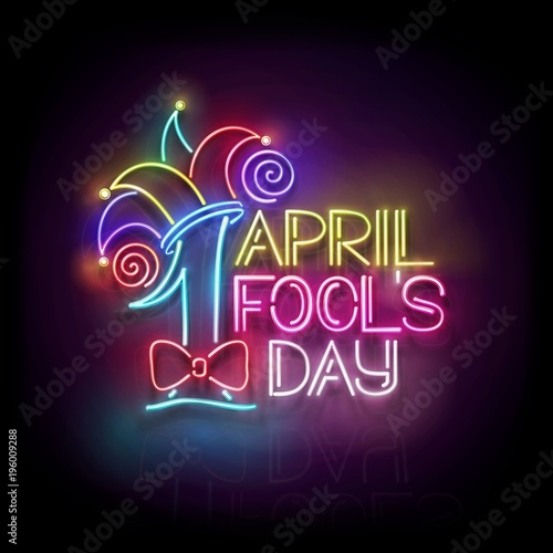 greeting card template for april fools day vintage glow signboard with letters and jester hat