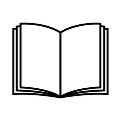 Book icon. Open book with blank pages. Vector Illustration